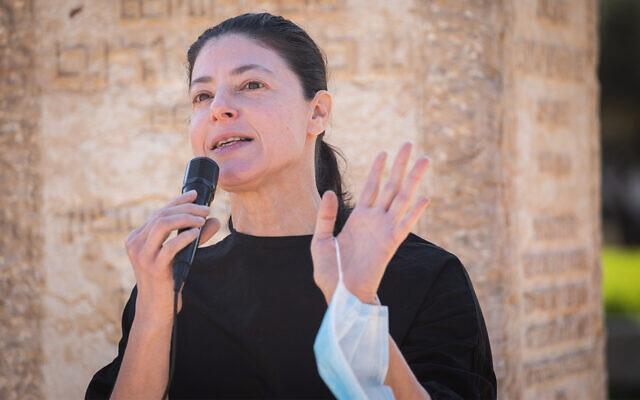Labor MK Merav Michaeli speaks during a protest in Jerusalem, November 9, 2020. (Hadas Parush/Flash90)