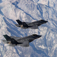 Two US Navy F-35C Lightning II jets fly in formation during an exercise out of Naval Air Station Lemoore, California, November 16, 2018. (US Navy/Chief Mass Communication Specialist Shannon E. Renfroe)