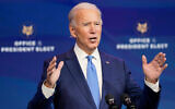 US President-elect Joe Biden announces his choice for several positions in his administration during an event in Wilmington, Delaware, December 11, 2020. (AP Photo/Susan Walsh)