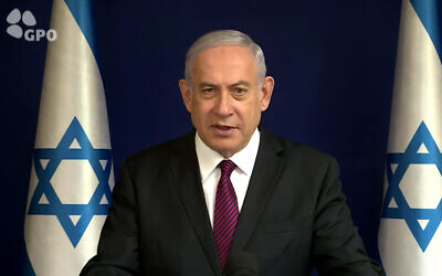 Prime Minister Benjamin Netanyahu issues a Christmas greeting in a video posted to his social media channels on December 23, 2020. (Screenshot/YouTube)