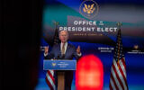 US President-elect Joe Biden delivers remarks on the pandemic in Wilmington, December 29, 2020. (Mark Makela/Getty Images/AFP)