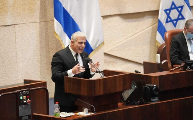 Opposition Leader Yair Lapid in the Knesset plenum on December 2, 2020. (Knesset spokersperson/Danny Shem-Tov)