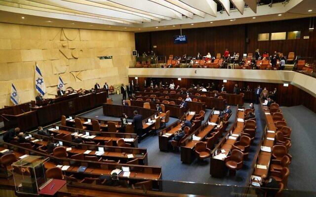 The Knesset plenum on December 2, 2020. (Knesset spokersperson/Danny Shem-Tov)