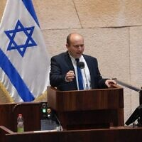 Yamina MK Naftali Bennett addresses the Knesset plenum on December 2, 2020. (Danny Shem Tov/ Knesset Spokesperson)