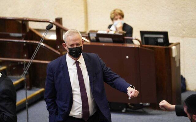 Defense Minister Benny Gantz of Blue and White in the Knesset plenum on December 9, 2020. (Dani Shem Tov/Knesset Spokesperson)