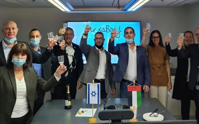 MediWound's team in Tel Aviv at a signing ceremony with UAE conglomerate Ghassan Aboud Group for commercialization of its NexoBrid treatment for severe burns, December 14, 2020 (Mediwound).