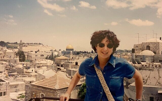 Ya'ara Saks on the wall surrounding Jerusalem's Old City during the first year of her masters degree studies at Hebrew University, in July 1995. (Courtesy)