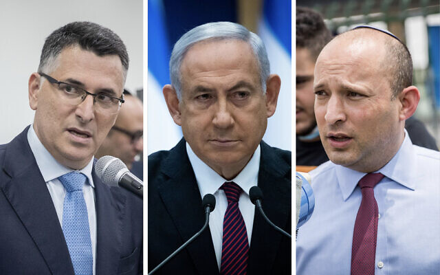 Combo photo (from left): New Hope leader Gideon Sa'ar, Prime Minister Benjamin Netanyahu, Yamina leader Naftali Bennett. (Flash90)