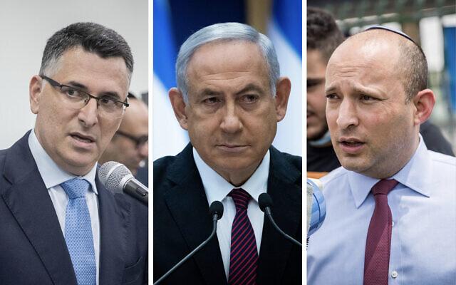 Combo photo (from left): New Hope leader Gideon Sa'ar, Prime Minister Benjamin Netanyahu, Yamina leader Naftali Bennett. (Flash90)