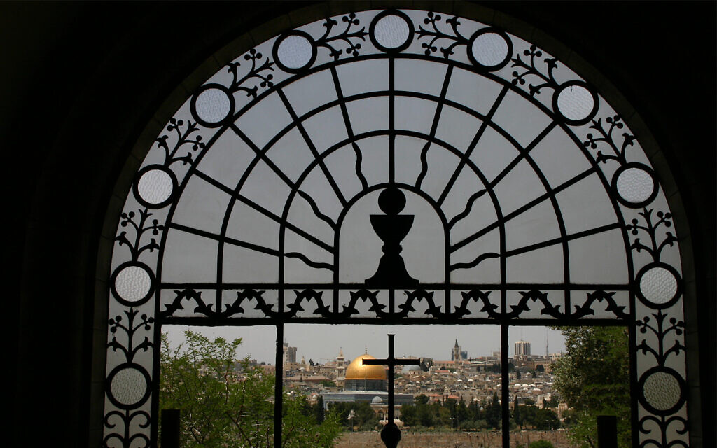 The Dome of the Rock and Jerusalem's Old City, seen from inside the Dominus Flevit church on the Mount of Olives. (Shmuel Bar-Am)