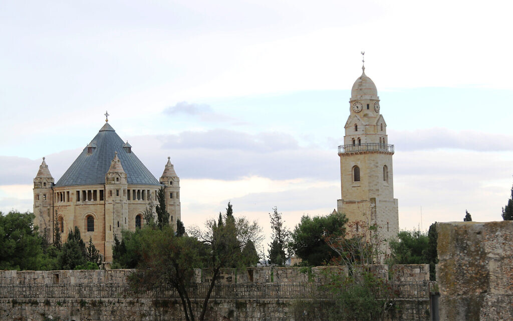 Dormition Abbey, seen from Jerusalem's Old City ramparts. The abbey was inaugurated in 1910 over an early church that was believed to contain the biblical Mary's crypt. (Shmuel Bar-Am)