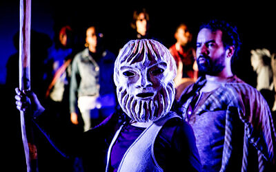 Julie A. Lockhart (masked), and Jonathan C.K. Williams  in 'Exagoge,' 2016. (Taso Papadakis/ Theatre Dybbuk)