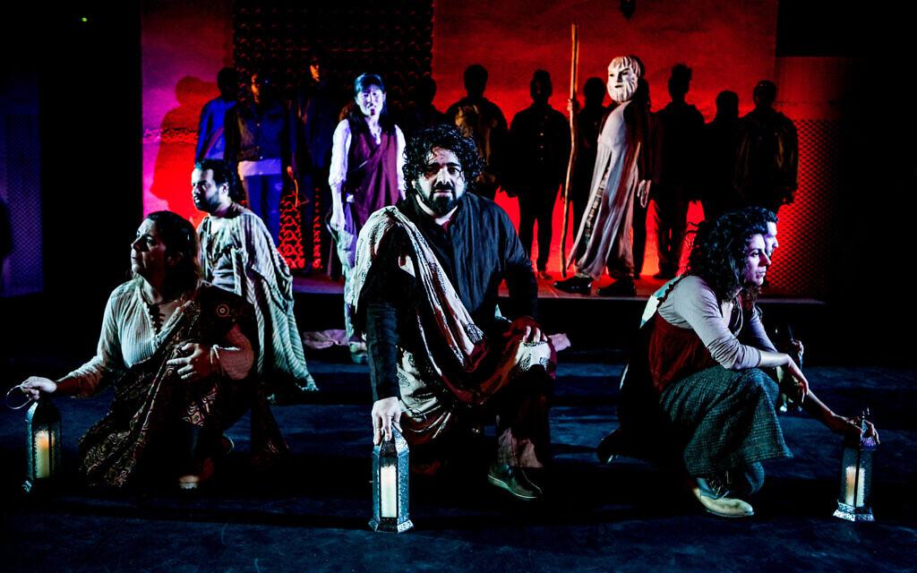 From left to right: Rebecca Rasmussen, Jonathan C.K. Williams, Diana Tanaka, Rob Adler, Julie A. Lockhart (masked), Jenny Gillett, and Nick Greene in 'Exagoge,' 2016. (Taso Papadakis/ Theatre Dybbuk)