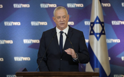Blue and White leader Benny Gantz speaks at a press conference, December 29, 2020. (Elad Malka/Blue and White)
