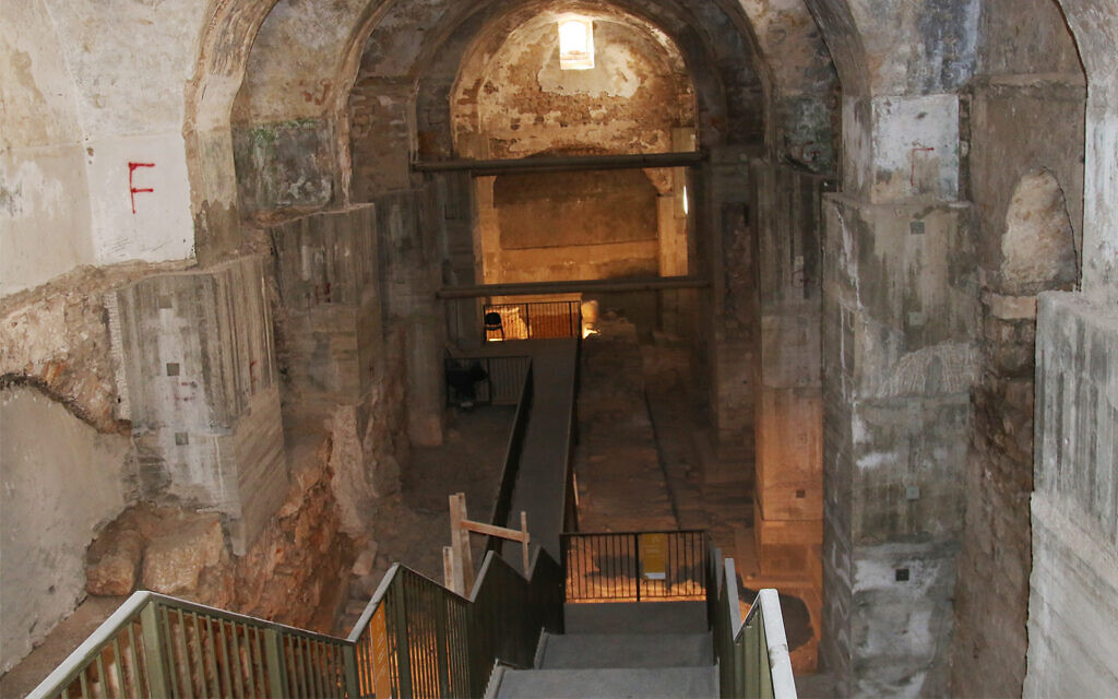 Archaeological excavations under a Turkish-built military structure called the kishle in Jerusalem. Researchers have uncovered ruins at the site dating back to King Hezekiah's reign in the 8th-century BCE. (Shmuel Bar-Am)