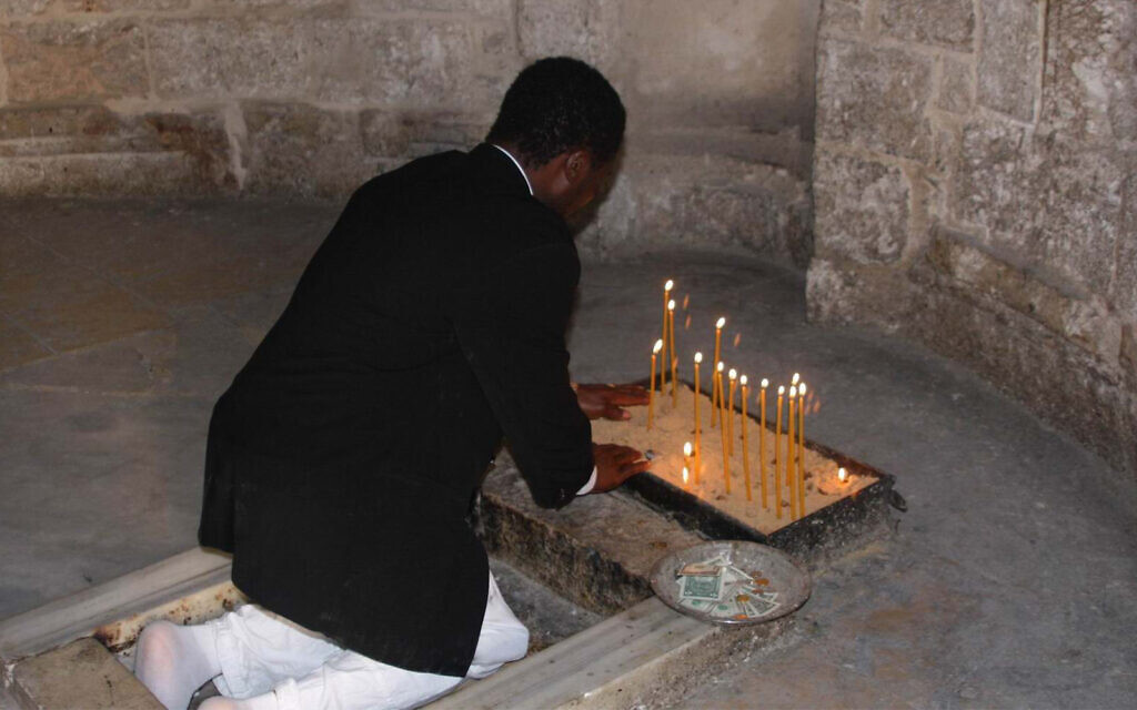A worshiper at the Mosque of the Ascension. The structure was a Crusader church and was converted to a mosque after Saladin conquered Jerusalem in 1187. (Shmuel Bar-Am)