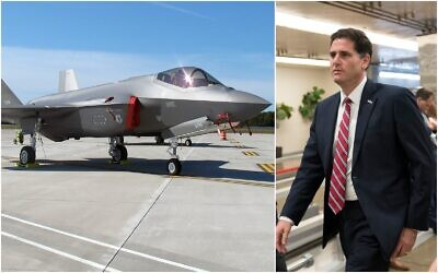 Left: An F-35 fighter jet arrives at the Vermont Air National Guard base in South Burlington, Vermont, September 19, 2019. Right, Ron Dermer, Israel's ambassador to the United States, walks through the Capitol in Washington on September 11, 2019. (J. Scott Applewhite, Wilson Ring/ AP/ File)
