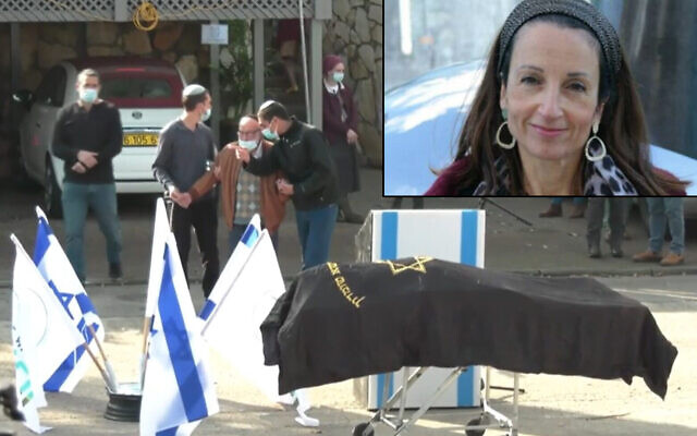 The funeral of Esther Horgen, killed in an apparent terror attack in the West Bank, December 22, 2020 (Screen grab/Ynet); Inset: Esther Horgen (Courtesy)