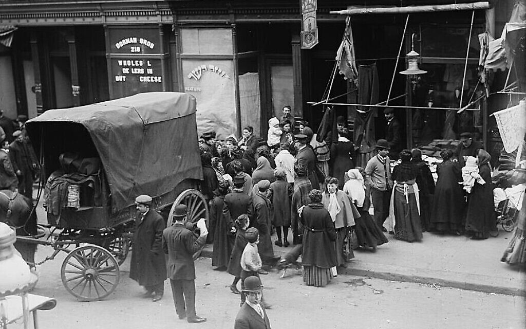 A crowd gathers in front of a kosher butcher shop during a meat riot in New York's Lower East Side, from 'The Great Kosher Meat Wars of 1902.' (undated). (Library of Congress Prints and Photographs Division)