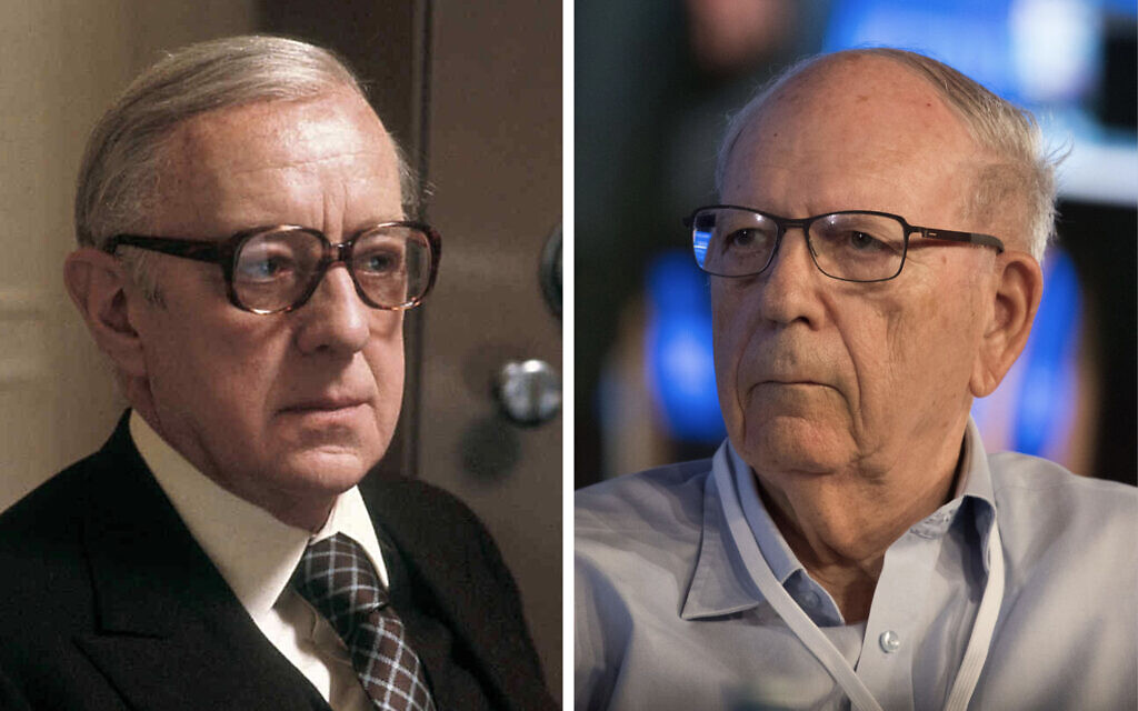 Alec Guinness in the role of George Smiley (left); ex-Mossad chief Efraim Halevy (Combo photo: Acorn Media and Yonatan Sindel/Flash90)