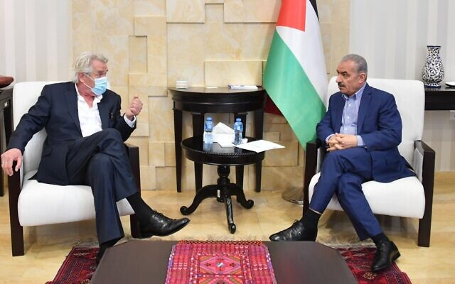 Norway's special envoy for the Middle East Peace Process Tor Wennesland, left. during a meeting with Palestinian Authority Prime Minister Mohammed Shtayyeh in Ramallah in June 2020 (WAFA)