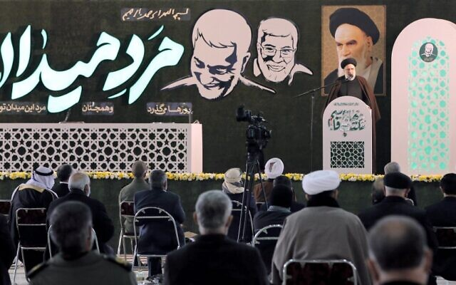Iranian judiciary chief Ebrahim Raisi speaks during a ceremony on the occasion of the first anniversary of death of former Quds force commander Qasem Soleimani in Tehran, on January 1, 2021. (STR / AFP)