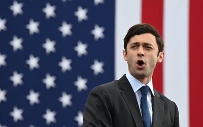 Democratic Senate candidate Jon Ossoff speaks during a campaign rally in Atlanta, Georgia, on December 15, 2020.  (JIM WATSON / AFP)