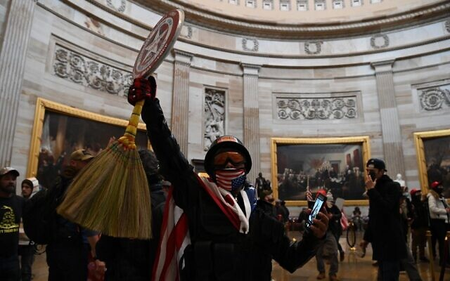 Supporters of US President Donald Trump enter the US Capitol's Rotunda on January 6, 2021, in Washington, DC.(Saul LOEB / AFP)