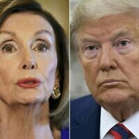In this file combination of pictures created on September 24, 2019 shows US Speaker of the House Nancy Pelosi, Democrat of California, on September 24, 2019 and US President Donald Trump in Washington, DC, September 20, 2019. - US House Speaker Nancy Pelosi said January 10, 2021, she was ready to start second impeachment proceedings against President Donald Trump unless he was removed from office within days. (Photos by Mandel NGAN and SAUL LOEB / AFP)