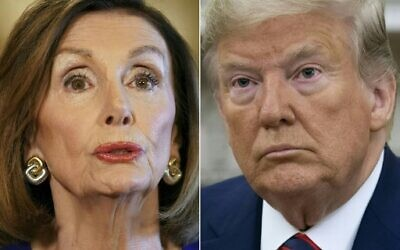 This file combination of pictures created on September 24, 2019 shows US Speaker of the House Nancy Pelosi, Democrat of California, on September 24, 2019 and US President Donald Trump in Washington, DC, September 20, 2019. (Photos by Mandel NGAN and SAUL LOEB / AFP)