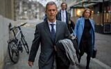 French-Israeli diamond magnate Beny Steinmetz (L) arrives with his lawyers for his trial in Geneva on January 11, 2020. (Fabrice Coffrini/AFP)