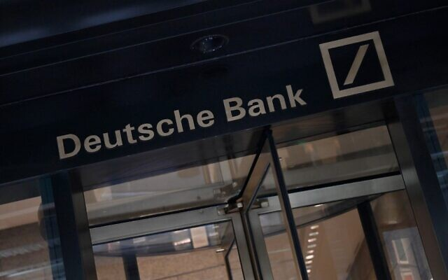 Signage is seen outside the US headquarters of Deutsche Bank in New York City
