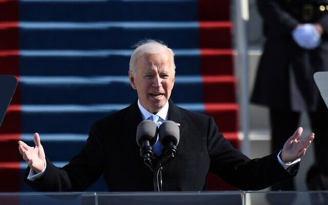 US President Joe Biden delivers his inauguration speech on January 20, 2021, at the US Capitol in Washington. (Andrew Caballero-Reynolds/AFP)