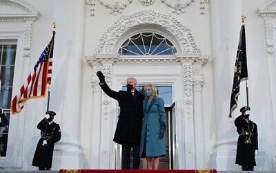 US President Joe Biden and First Lady Jill Biden arrive at the White House in Washington, DC, on January 20, 2021. (Jim WATSON / AFP)
