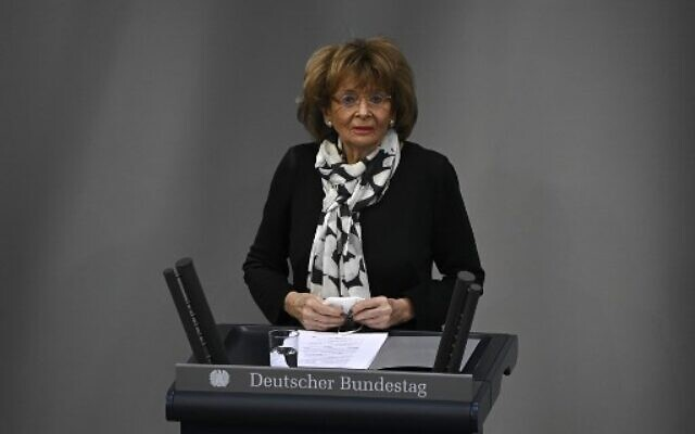 Vice President of the European Jewish Congress and the World Jewish Congress Charlotte Knobloch speaks during a ceremony marking the 76th anniversary of the liberation of Nazi Germany's Auschwitz death camp, on International Holocaust Remembrance Day, January 27, 2021 at the Bundestag in Berlin. (SCHWARZ / AFP)