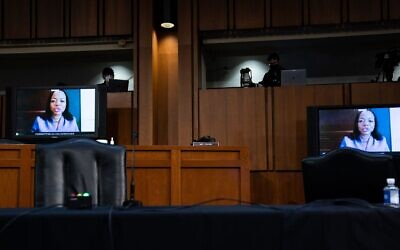 Kristen Clarke speaks remotely during Senate Judiciary Committee hearings on the confirmation of Supreme Court nominee Amy Coney Barrett, October 15, 2020. (Anna Moneymaker-Pool/Getty Images)