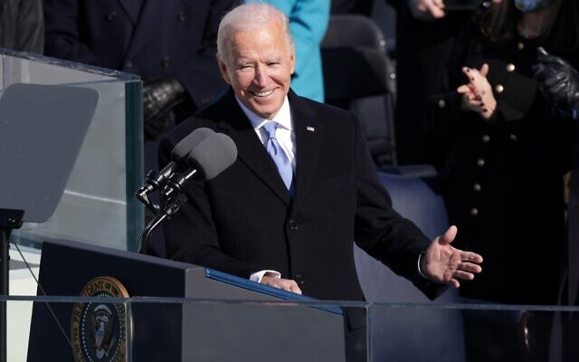 President Joe Biden delivers his inaugural address on the West Front of the US Capitol on January 20, 2021 in Washington, DC. (Alex Wong/Getty Images/AFP)