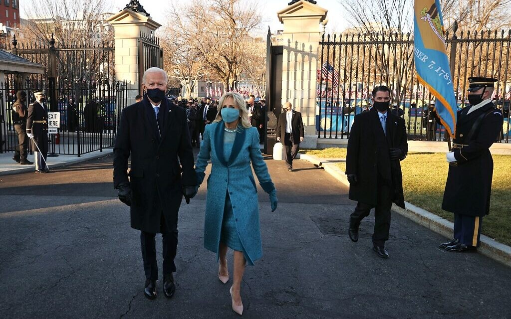 US President Joe Biden and First Lady Dr. Jill Biden arrive at the White House after Biden's inauguration on January 20, 2021 in Washington, DC. Biden became the 46th president of the United States earlier today during the ceremony at the US Capitol.   (Chip Somodevilla/Getty Images/AFP)