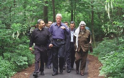 Left to Right: Ehud Barak, Bill Clinton, Yasser Arafat at Camp David, July 2000. (William J. Clinton Presidential Library/ Courtesy of Sony Pictures Classics)