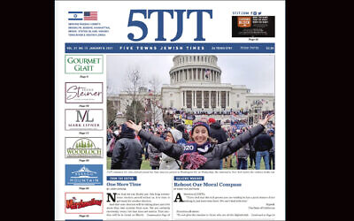 Rabbi Kenneth Hain banned the 5 Towns Jewish Times from his synagogue after a local Trump supporter who attended the Jan. 6 protests in Washington was featured on the paper's front page. (Screenshot from 5 Towns Jewish Times)