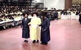 Wedding of the offspring's of Sanz and Toldot Ahron Hasidic sects leaders in Netanya on January 21, 2021 (Screenshot)