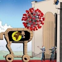 An anti-Semitic cartoon published on Telegram on March 15, 2020, likening Jews to the coronavirus using the image of the Trojan horse. (Diaspora Affairs Ministry monitoring team via ADL/courtesy)