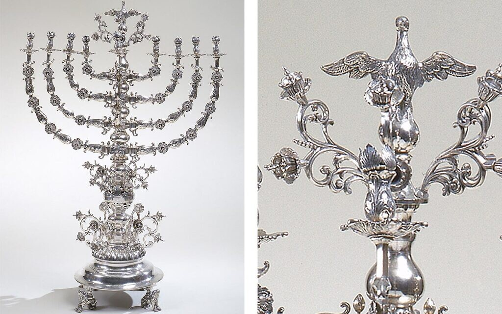 Chanukah lamp, 1866–72. Polish, Lviv (Lwów, Lvov, or Lemberg). Silver: cast, chased and engraved, 33 9/16 x 23 1/8 in., 60 lb. (85.3 x 58.7 cm, 27.2 kg). On loan from The Moldovan Family Collection. (Metropolitan Museumof Art)