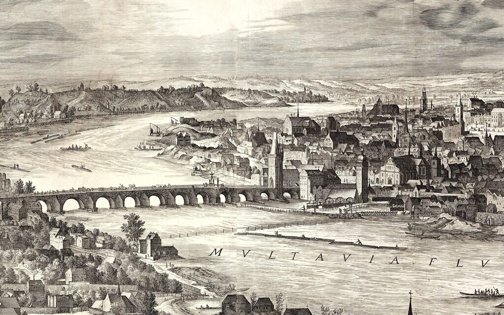 View of the City of Prague, 1606, by Johannes Wechter. The panorama features the city's great monuments — but not its famed Old New Synagogue. (Metropolitan Museum of Art)