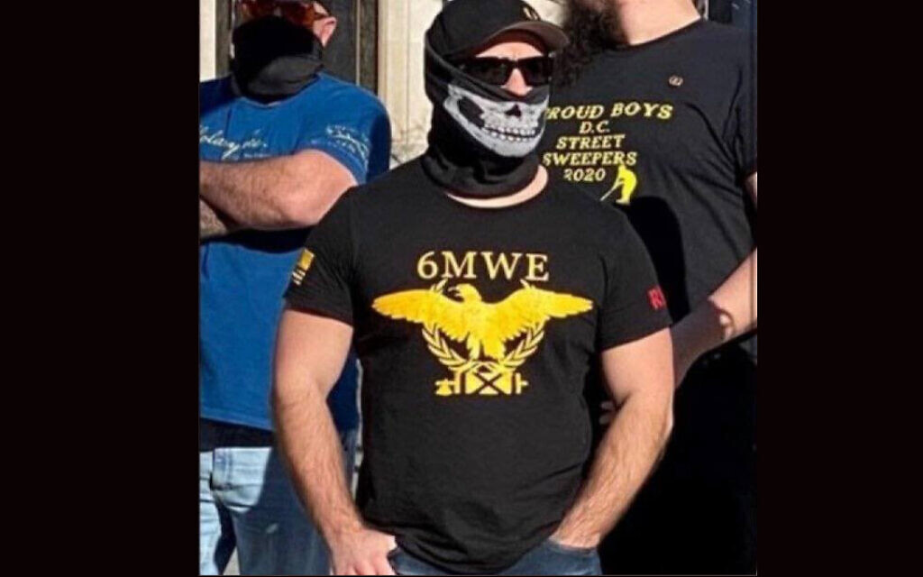 This photo was shared tens of thousands of times in conjunction with Wednesday's insurrection, but it was taken last year. (Screenshot from Twitter/ via JTA)