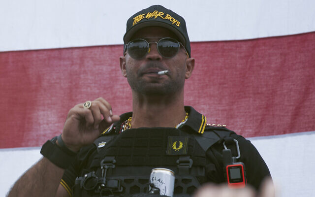 Proud Boys leader Henry 'Enrique' Tarrio wears a hat that says The War Boys during a rally in Portland, Oregon, September 26, 2020. (Allison Dinner/AP)