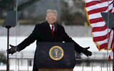 US President Donald Trump speaks at a rally on January 6, 2021, in Washington, shortly before the mob assault on the US Capitol. (AP/Jacquelyn Martin)