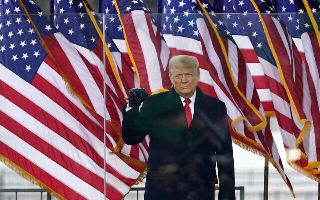 US President Donald Trump arrives to speak at a rally, January 6, 2021, in Washington. (AP Photo/Jacquelyn Martin)