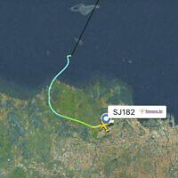 This radar image shows the flight path of Indonesian Sriwijaya Air Flight 182 before it dropped off radar, Jan. 9, 2021 (Flightradar24.com via AP)
