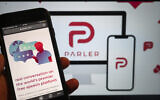 The website of the social media platform Parler is displayed in Berlin, January 10, 2021. (Christophe Gateau/dpa via AP)